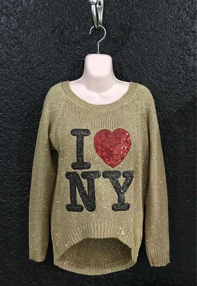 Suéter Dorado Marca London Fashion. Unitalla. Usado.
