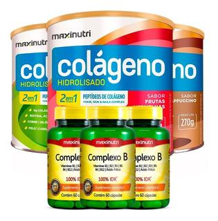 3 Colágenos Hidrolisado 2em1 + 3 Complexo B - Maxinutri