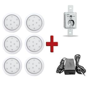 6 Luminárias 9w 80mm Led Branco 3k Cp Branco+controle+fonte