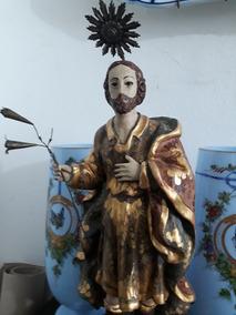 Imagem Antiga Em Madeira Séc Xix