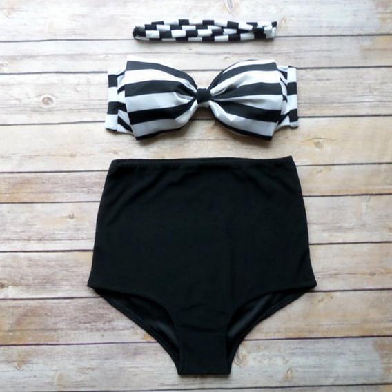 Traje Baño Cintura Alta Bikini Negro Moño Rayas Moda Remate