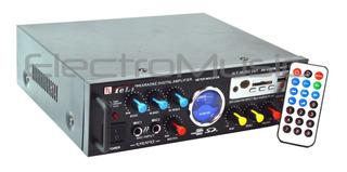Amplificador 2 Canales Entradas Para Micrófonos Usb Mp3 Radio Fm Karaoke 12v-220v Spe