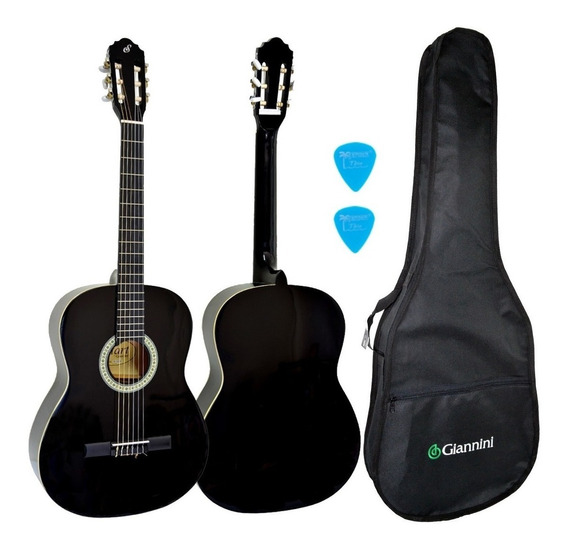Kit Violão Acústico Nylon Preto N14 Start Giannini + Capa