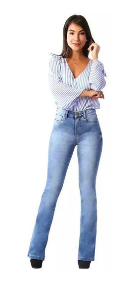 Calça Sawary Jeans Flare Super Lipo Cintura Alta Autêntica