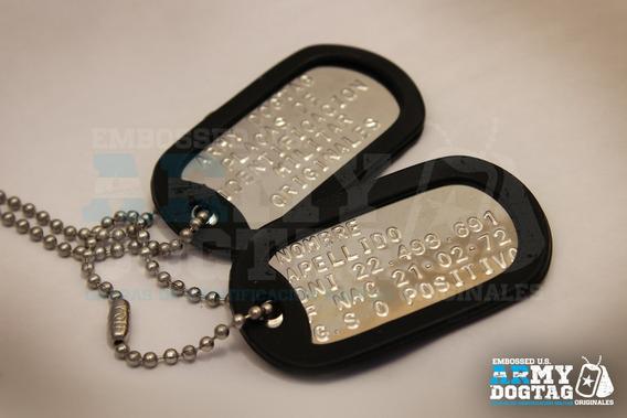 Chapa Militar Dogtag Usa Con Grabado Orig Brillantes