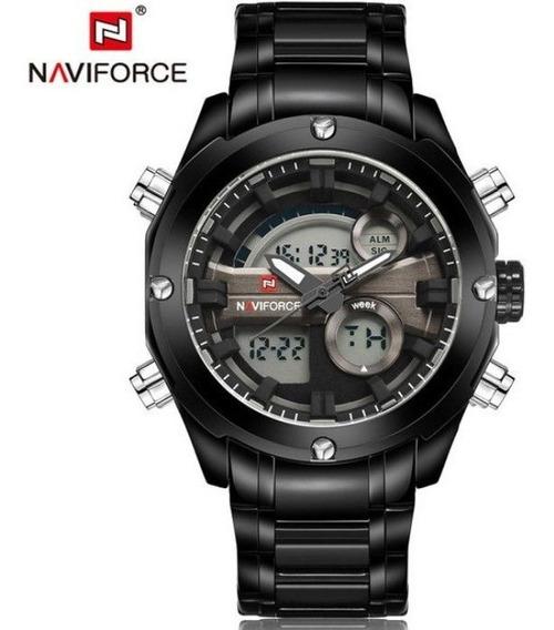 Relógio Masculino Naviforce 9088 Lindo Luxo Aço Frete Grátis