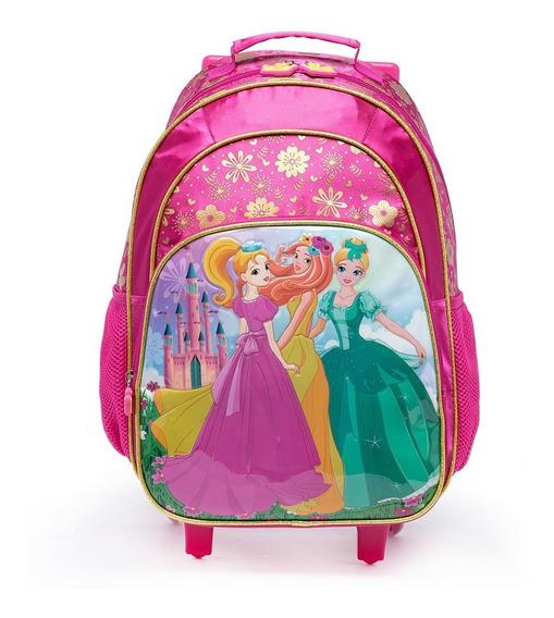 Kit Escolar Mochila De Rodinhas Princesas Lancheira Estojo