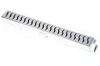 Ralo Linear 6x50 Branco Grelha Inox Continuo Sifonado