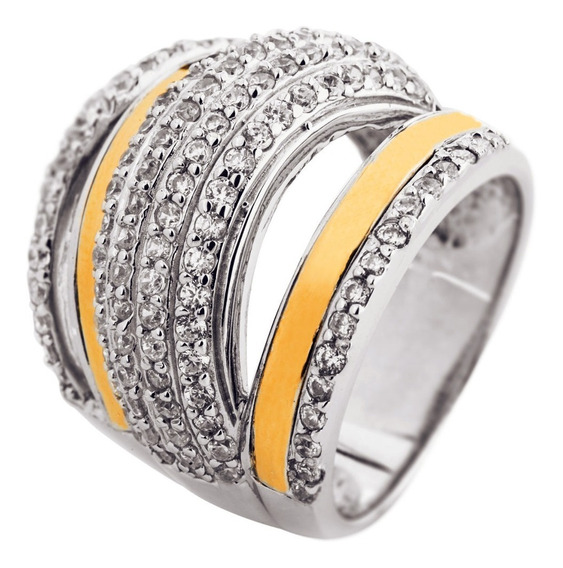 Anillos De Mujer Plata De Ley 950 Oro 18 K 3088 B25k