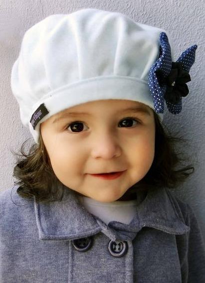 Boina Azul Bebê Com Laço Azul