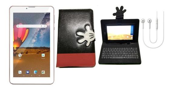 Tablet Rosa 16gb Celular Dual Chip + Capa Com Teclado + Fone