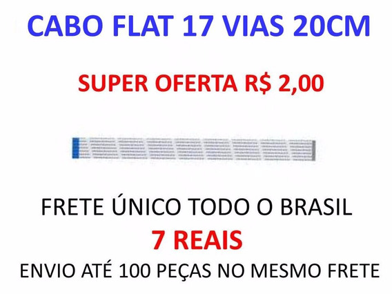 Kit 3x Cabo Flat Dvd 17 Vias Invertido 20 Cm.