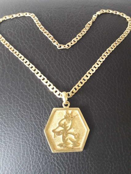 Cordão De Prata Banhada A Ouro Com A Medalha Da Duck Golden