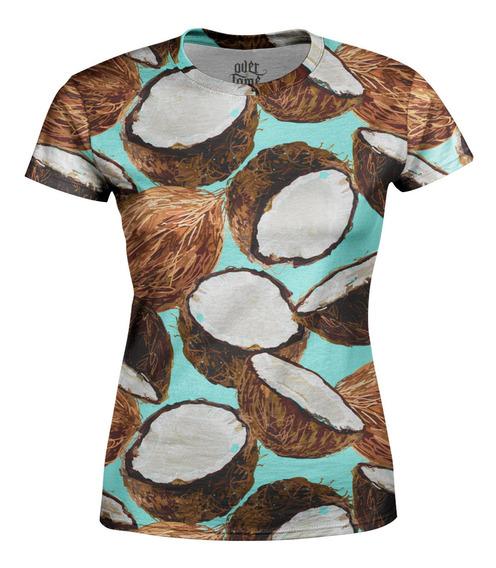 Camiseta Baby Look Feminina Cocos Estampa Total