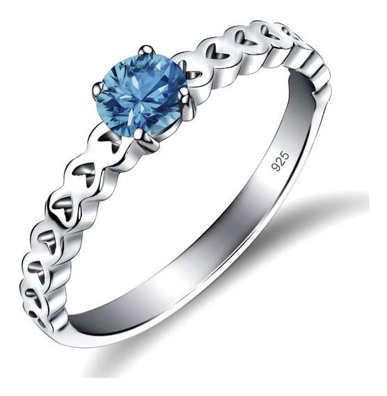 Anel Luxo De Pura Prata 925 Corações Azul Topázio- Exclusivo - Compre Joias Direto Da Fábrica E Economize Dinheiro