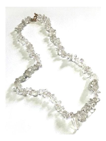 Colar Cascalho Cristal Pedra Natural C/ Fecho