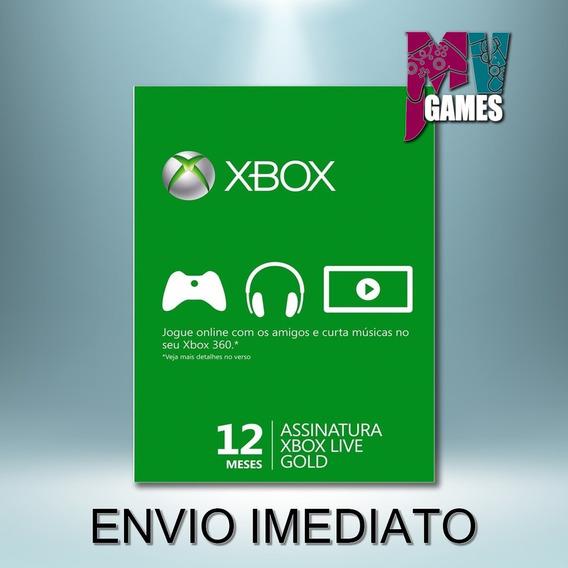 Xbox Live Gold 12 Meses - Xbox 360/one - Código 25 Dígitoss