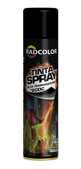 Tinta Spray Preto Fosco Alta Temperatura 600ºc Radcolor