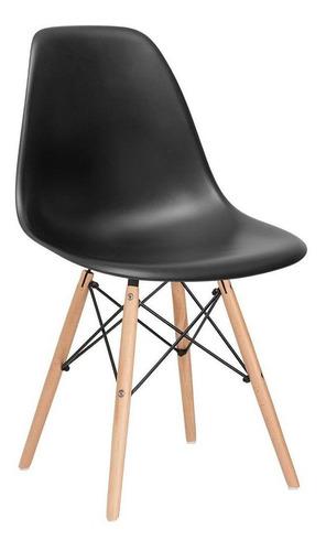 Imagem 1 de 6 de Cadeira  Eames Jantar Cozinha Wood  Dsw  Eiffel Preto