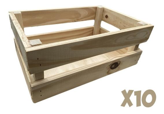 10 Cajones De Pino Verdulero Organizador Souvenir 30x20x12