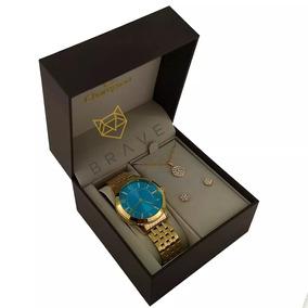 Relógio Champion Feminino Dourado Azul + Colar E Brincos +nf