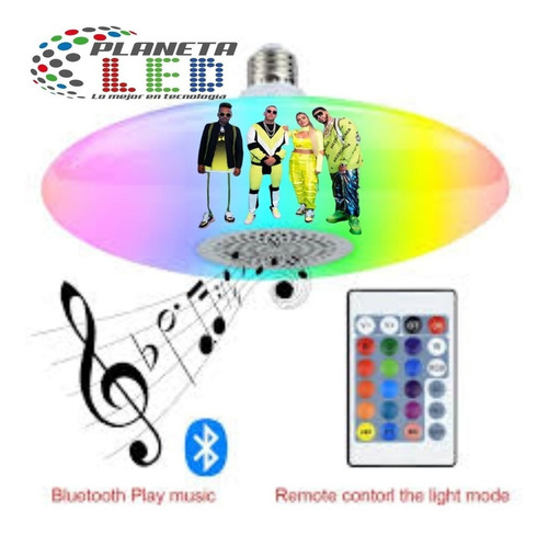 Foco Lampara Con Bluetooth Músical Led 24w Inteligente E27
