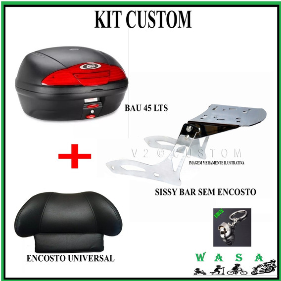 Kit Custom Sissy Bar + Encosto Universal + Givi 45 Lts