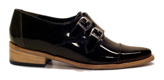 Zapatos Bajos Botinetas Doble Hebilla Charol O Cuero