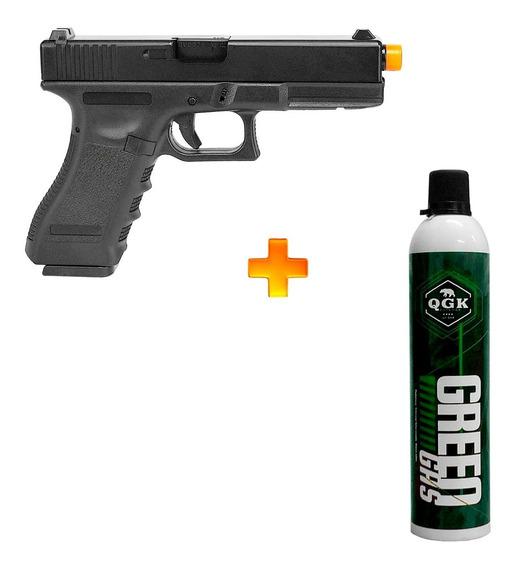 Pistola De Airsoft À Gás Gbb Green Gás Black R17 + Green Gás