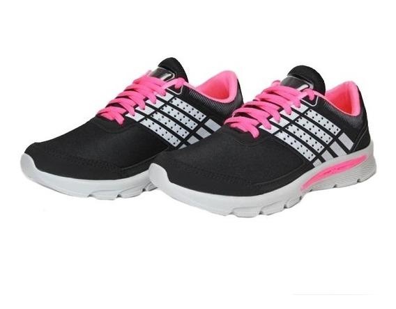 Tênis Feminino Preto E Rosa Confortavel Barato Sapatos Tenis