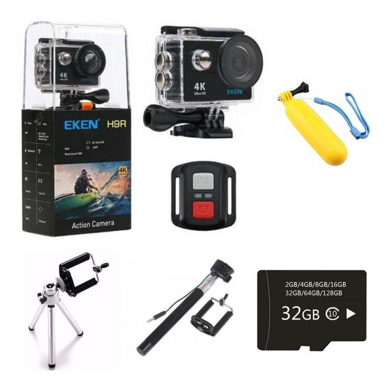 Kit Câmera Eken H9r 4k +32gb + Bastão + Carregador +boia Flu