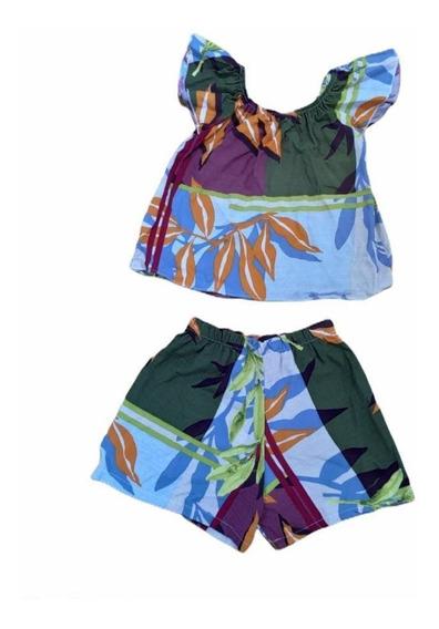 Conjunto Infantil Menina Blusa C Short Ciganinha Estampado