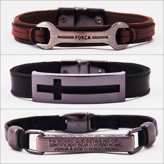 Kit 50 Pulseiras De Couro Legítimo Bracelete Masculino Luxo