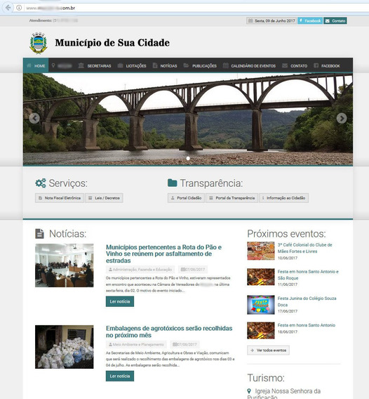 Site Prefeituras +hospedagem +painel Administrativo +suporte