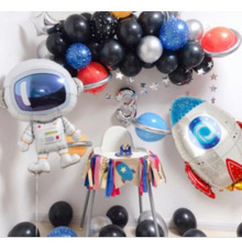 Pack Arco Orgánico De Globos Espacial Astronauta Nave Cohete