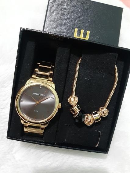Relógio Mondaine Feminino + Semijóia