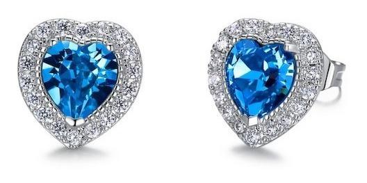 Aros Cristales Swarovski Corazón Celeste- Joyas Mujer Regalo