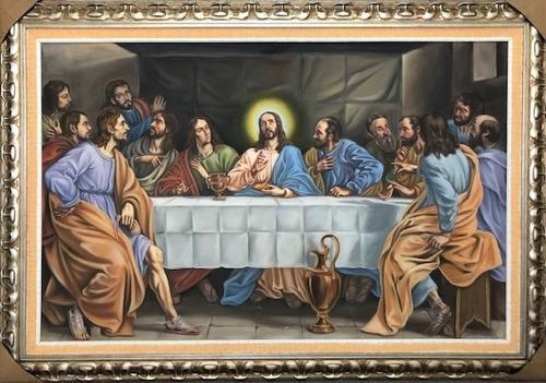 Imagem 1 de 10 de Obra Santa Ceia Acrílico S/ Tela Pintado A Mão 165x114cm