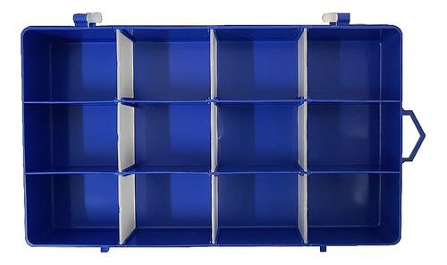 Imagem 1 de 8 de Caixa Organizadora Plástico Azul 12 Divisórias - 201901