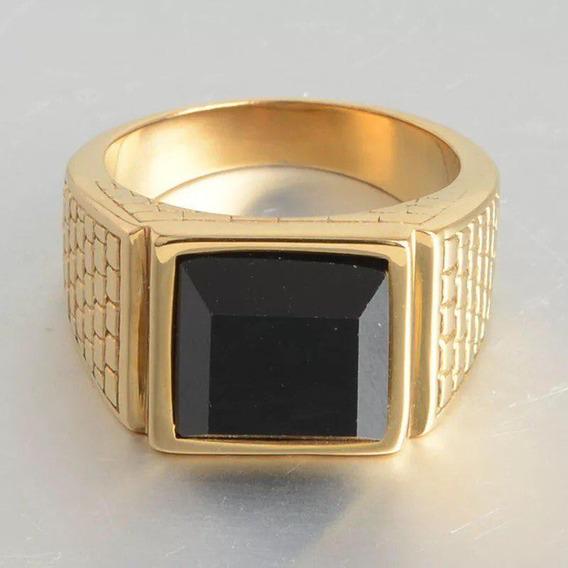 Anel Aço Masculino Banhado A Ouro 18k Comendador Pedra Preta