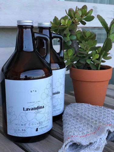 Imagen 1 de 7 de Kit Botellon De Vidrio 1.9l Limpiador Liquido + Lavandina