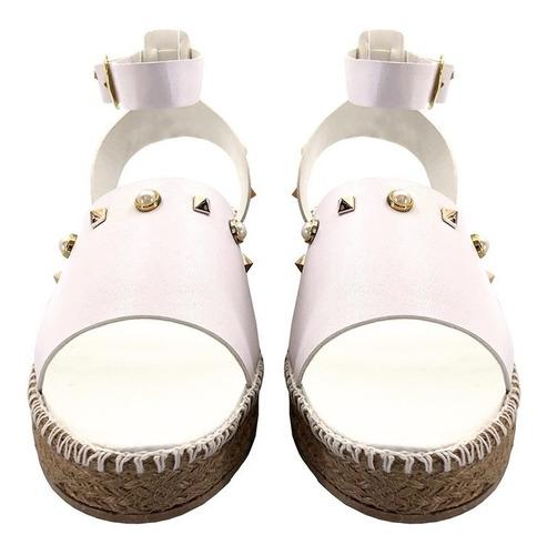 Sandalia Plataforma Bajita Pulcera Con Estoperoles 339a
