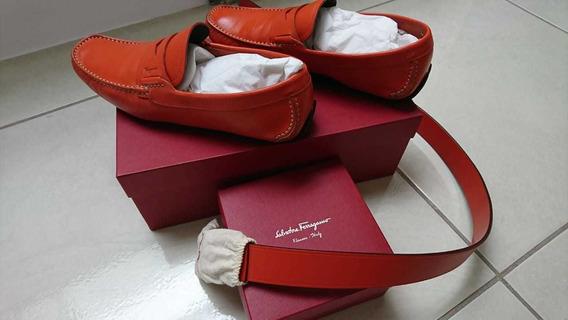 Salvatore Ferragamo Sneakers Y Cinturón Originales.