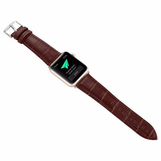 Pulseira Compatível Com Apple Watch, Iwo 8/9 Plus Em Couro