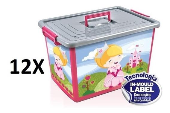Kit 12 Baú Caixa Organizadora 50 Litros Infantil Rosa Com Ro