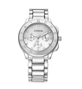 Relógio Feminino Geneva Prata Strass Aço Inox Barato