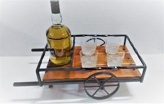 Porta Bebida Y Vasos.estilo Carreta Antigua Decoracion.