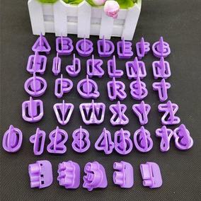Cortadores Letras Números Biscuit Pasta Americana - 40 Peças