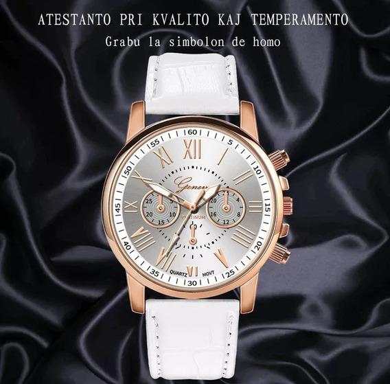 2 Relógio Luxo Feminino Geneva Pulso Social Pulseira Couro