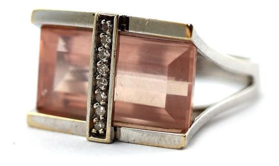 Anel Ouro 18k Quartzo Cristal Rosa Diamante Delicado J22454